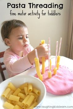 Pasta Threading - a fine motor activity for toddlers Simple pasta threading activity for toddlers to do using play dough and straws. Great for fine motor development and hand/eye coordination. Lots of fun too. Montessori Toddler, Montessori Activities, Toddler Play, Infant Activities, Toddler Crafts, Toddler Games, Sensory Activities For Toddlers, Sensory Play For Babies, Preschool Cooking Activities