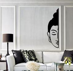Our vinyl stickers are unique and one of a kind! Every sticker we sell is made per order and cut in house! We make our wall decals using superior quality interior and exterior glossy, removable vinyl Zen Living Rooms, Living Room Decor, Bedroom Decor, Wall Decor, Thai Decor, Asian Decor, Room Stickers, Vinyl Wall Stickers, Buddha Face