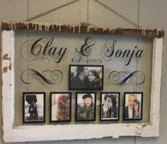 Vintage Window Single Pane Picture Frames by VaughnCustomCreation, $75.00 LOVE. Marriage. Wedding. Anniversary. Love Story. Him & Her. Picture Frames. Old Window. Vintage Window. Vinyl. CUSTOMIZED FOR YOU. Different Colors & Fonts.