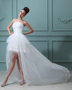 Strapless Taffeta Short Bridal Gown Wedding Dress  A-line/Princess,High-Low,Empire,Chapel Train,Strapless,Sleeveless,Appliques,Ruffles,Zipper,Organza,Taffeta,Garden/Outdoor,Spring,Summer,Fall,