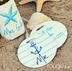 round luggage tags - SEASIDE COLLECTION - with custom monogram - set of 2. $29.00, via Etsy.