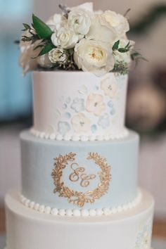 Elegant Cake from Romantic Southern Wedding – İnteresting Cake İdeas Blue Wedding, Floral Wedding, Summer Wedding, Wedding Desserts, Wedding Cakes, Reception Food, Elegant Cakes, Amazing Cakes, Wedding Styles
