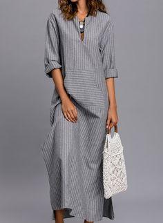 Stripe Pockets Sleeves Maxi Shift Dress Dress – Striped Sleeves and Maxi Dress Linen Dresses, Modest Dresses, Casual Dresses, Fashion Dresses, Maxi Dresses, Shift Dresses, Dress Patterns, Striped Dress, Ideias Fashion