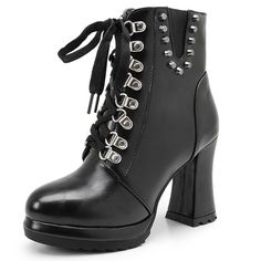 Lace-Up Rivets heel height 9.5cm Spring/Autumn Strange Style Ankle boots pu leather round toe woman party shoes