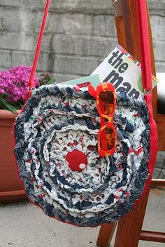Crocheted plastic and denim bag #plasticbag #upcycle