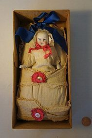 Antique bisque doll in original shipping box excellent condition - Pat Hatch Antiques #dollshopsunited