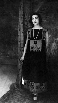 Sonia Delaunay in a dress she designed