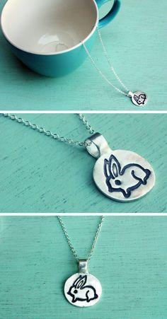 Miniature Bunny Necklace by boygirlparty, made of eco-friendly reclaimed silver: https://www.etsy.com/boygirlparty/listing/157492226/bunny-rabbit-necklace-by-boygirlparty