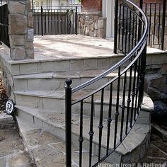 I want this fine looking photo Step Railing Outdoor, Porch Step Railing, Wrought Iron Porch Railings, Exterior Stair Railing, Garden Railings, Patio Stairs, Wrought Iron Stair Railing, Balcony Railing Design, Porch Steps