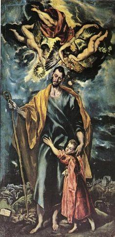"""""""San José y el Niño Jesús"""" 1597-1599 Óleo sobre lienzo, 289 x 147 cm. Manierismo. Capilla de San José en Toledo. http://www.wga.hu/html_m/g/greco_el/13/1302grec.html"""