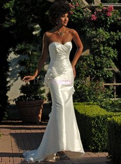 Ivory Strapless Natural Sleeveless Church Wedding Dresses With Criss-Cross WD2868