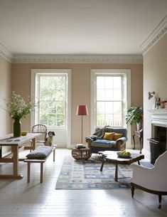A Stylish Remodel of a Stately Historic English House Farrow And Ball Living Room, Farrow And Ball Paint, Farrow Ball, Dead Salmon Farrow And Ball, Living Area, Living Spaces, Student Room, Living Room Interior, Home And Living