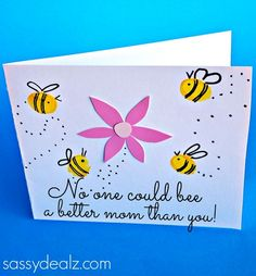 Fingerprint Bee Mother's Day Card for Kids to Make - Crafty Morning