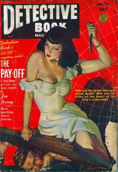 DETECTIVE BOOK   THE PAY-OFF   pulp art cover magazine crime vintage