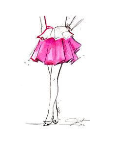 Print from original watercolor and pen fashion illustration by Jessica Durrant titled Peplum & Pink via Etsy