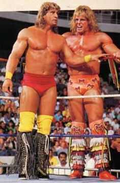 The Texas Tornado Kerry Von Erich with The Ultimate Warrior