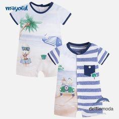 "Set de dos ranitas manga corta de bebe MAYORAL newborn estampadas ""playa"""