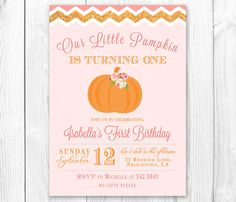 Hey, I found this really awesome Etsy listing at http://www.etsy.com/listing/161704644/little-pumpkin-birthday-invitation
