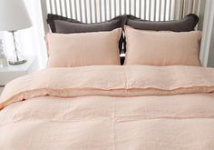 Light Pink / Coral Colored Linen Twin / Queen Size Bedding Set by MagnoliaAmor on Etsy