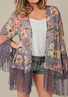 Knotted Corded Fringe Kimono- Features Colorful Floral Print