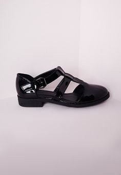 T Bar Buckle Flat Shoes Black Patent - Shoes - Flat Shoes - Missguided