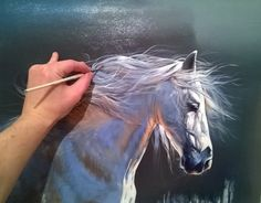 "of knife painting by Christian Jequel: ""Horses"" Simple Oil Painting, Painting Process, Painting Videos, Painting Classes, Horse Drawings, Animal Drawings, Horse Oil Painting, Horse Paintings On Canvas, Painting Clouds"