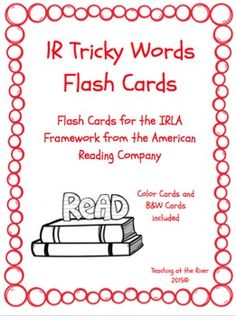 I've made NEW AND IMPROVED flashcards but I'm leaving the same great low price! These cards are for the 1R level of the IRLA framework from the American Reading Co. This comes with a red set of cards for easy color coding by level as well as a black and white set for a nice crisp dark print while saving color ink.
