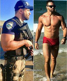 Hot Men, Sexy Men, Sexy Guys, Men's Swimsuits, Swimwear, Shirtless Hunks, Hot Cops, Men In Uniform, Muscular Men