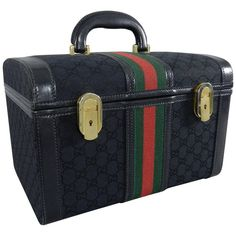 ee7f21626f28 Gucci Vintage 1970 s Black Monogram Train Case Bag - Travel Luggage Trunk