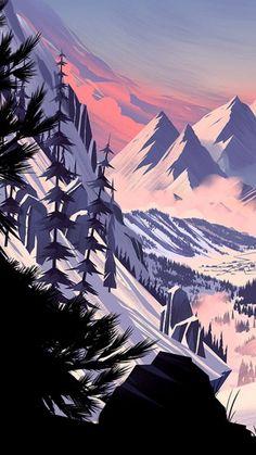 Terror. 07.12.1987.. Mountain Landscape, Mountain Art, Digital Illustration, Landscape Illustration, Landscape Background, Landscape Wallpaper, Matte Painting, Fantasy Landscape, Landscape Art