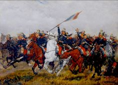 French Dragoons Charging-/Franco -Prussian war-painted by William Trego.  Perhaps this painting is meant to represent the futile & desperate charges at Sedan-that achieved nothing - except admiration for this brave act of anachronistic folly-from the Prussians who systematically mowed down scores of these cavalrymen and their magnificent horses.