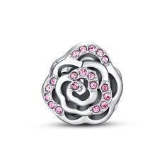 Pink Crystal openwork rose charm