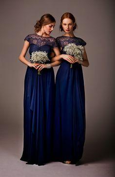 Elegant navy and lace brides maid dress #BeverlyHills #wedding