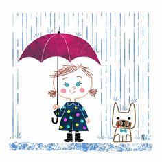 Nate Wragg Art and Illustration Cartoon Drawings, Easy Drawings, Rain Cartoon, Showers Of Blessing, Kids Umbrellas, Umbrella Art, Children's Book Illustration, Cute Art, Art For Kids