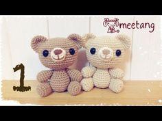 1/6 くまのあみぐるみの編み方[頭] How to crochet a Amigurumi bear - YouTube