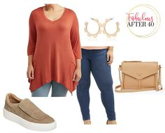 Affordable Plus-Size Outfits for Fall - Rust Asymmetrical Top, jeans