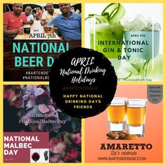 National Drinking Holidays You Should Be Celebrating-- Drinking Holidays for April Amaretto Drinks, National Beer Day, Catering Services, Gin And Tonic, Lets Celebrate, Bartender, New Recipes, Drinking, Cocktails