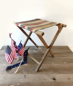 Vintage camp stool, folding wood and canvas seat, patriotic red white and blue stripes, primitive Americana by MomsantiquesNthings on Etsy