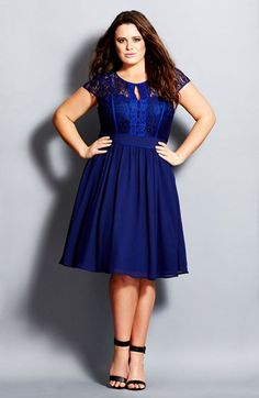 City Chic 'Romantic Rosa' Fit & Flare Dress (Plus Size) available at #Nordstrom