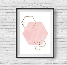 Pink Hexagon Art Blush & Copper Rose Gold Print by PrintAvenue