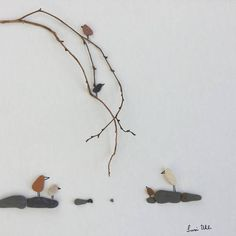 Unique Gift Pebble Art Bird Family on Branch Modern WallArt