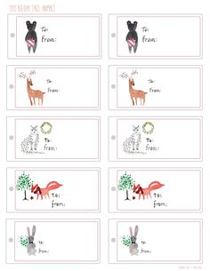 Animal Holiday Gift Tags from Sanae Ishida