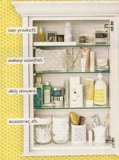 Sort medicine cabinet items by type.
