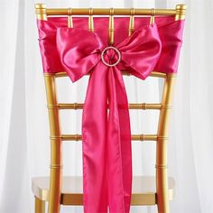 5pc x Satin Fushia Chair Sash | eFavorMart /  Satin has an unsurpassed sophistication and charismatic appeal about itself, it is undoubtedly, most preferred embellishing fabric that is adored by people all over the world and is tirelessly utilized in designing elegant formal attires, accessories, decorative flowers, ornaments and a lot more. The lustrous glossy texture of the fabric together with the seamless sheen and sublime elegance it exudes make it everyone's favorite all around the…