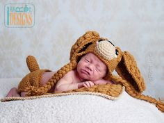 Copper the Baby Spaniel Hat with Diaper Cover and Blanket Set PDF Crochet Pattern by IraRott Inc.