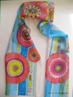 Hand painted silk scarf. Flowers. Multicolor--Red Lime Blue Grey Green Turquoise Purple. 70'' x 14''.