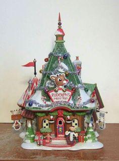 Dept 56 North Pole Rudolph's Misfit Headquarters ★NIB★ this one //// Disney Christmas Village, Grinch Christmas Tree, Christmas Village Display, Christmas Village Houses, Halloween Village, Christmas Town, Christmas Villages, Christmas Design, Christmas Birthday