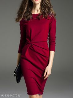 Buy Boat Neck Plain Bodycon Dress online with cheap prices and discover fashion Bodycon Dresses at fashionme to be fashionable now. Backless Maxi Dresses, Bodycon Dress With Sleeves, Women's Dresses, Casual Dresses, Fashion Dresses, Dresses Online, Cheap Dresses, Sheath Dress, Party Dresses