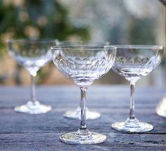 Set Of Six Lens Design Champagne Saucers
