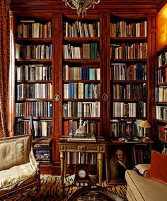 Wood and glass bookshelves and tiger printed carpet - Lévy-Alban's library, with new bookshelves that he had constructed for the room